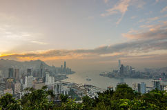 Hong kong sunset cityscape on the top of hill Braemar hill Royalty Free Stock Photography