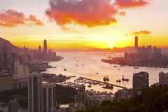 Hong Kong sunset at downtown Royalty Free Stock Image