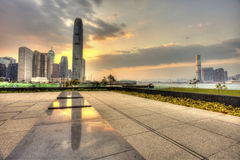 Hong Kong sunset in downtown Royalty Free Stock Photo