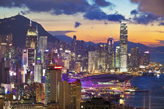 Hong Kong sunset with office buildings Royalty Free Stock Photography