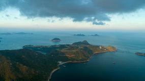 Hong Kong Sunset Po Toi O and Clear Water Bay Drone View!. Sun Royalty Free Stock Image