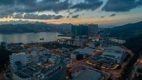 Hong Kong Sunset Tseung Kwan O Industrial Estate. Drone View Stock Photos