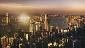 Hong Kong Sunset Victoria Habor View Concept Royalty Free Stock Image