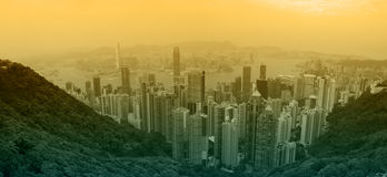 Hong Kong at sunset Stock Photo