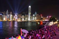 Hong Kong: Symfoni av lampor Arkivbild