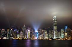 Hong Kong symfoni av lampor arkivbild