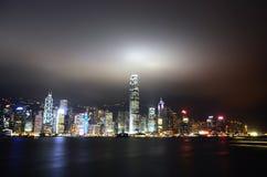 Hong Kong symfoni av lampor Royaltyfria Bilder