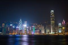 Hong Kong symfoni av ljus Arkivfoto