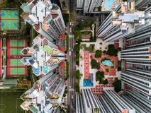 Hong Kong sztuka mlejąca od Above zdjęcie stock