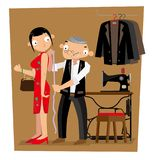A Hong Kong tailor gets length measurement of his client vector illustration