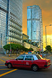 Hong Kong taxi. Taxi car in the street of Hong Kong stock photography