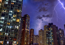 Hong Kong Thunder light. Hong Kong Building thunder light Royalty Free Stock Photo