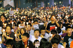 Hong Kong tiananmen vaka Royaltyfri Fotografi