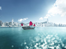 Hong Kong and tilt shift effect Royalty Free Stock Photo
