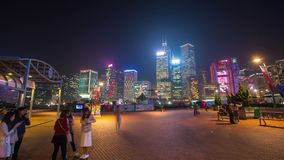 Hong Kong timelapse Beautiful evening People on the square stock footage