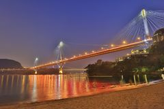 Hong Kong Ting Kau bridge at night. Landmark of Ting Kau at west of Hong kong Stock Photo