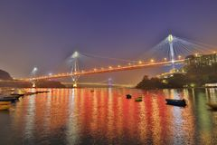 Hong Kong Ting Kau bridge at night. Landmark of Ting Kau at west of Hong kong Stock Image