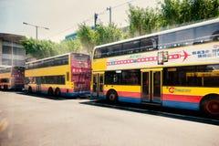 Hong Kong tourist buses on a parking Stock Photo