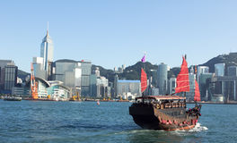 Hong Kong and Tourists Junk Royalty Free Stock Photos