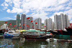 Hong Kong, traditional junks in the Aberdeen Royalty Free Stock Photography