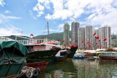 Hong Kong traditionella skräp i Aberdeenen Fotografering för Bildbyråer
