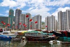 Hong Kong, tradycyjne dżonki w Aberdeen Zdjęcia Stock