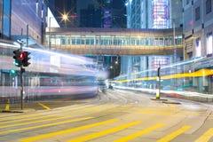 Hong Kong Traffic alla notte Fotografia Stock Libera da Diritti