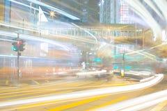 Hong Kong Traffic en la noche Imagen de archivo libre de regalías