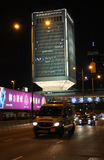 Hong Kong traffic and moden buildings by night. Royalty Free Stock Photo