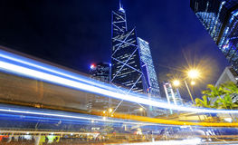 Hong kong traffic night Royalty Free Stock Images