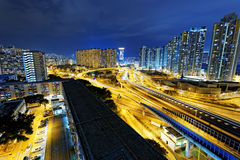 Hong Kong traffic night Stock Images