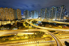 Hong Kong traffic night Royalty Free Stock Photo