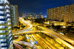Hong Kong traffic night Royalty Free Stock Photography