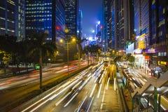 Hong Kong traffic at night. Hong Kong at night. Suitable for a futuristic o night view for a modern city Royalty Free Stock Photo
