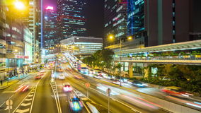 Hong kong traffic street junction night illumination panorama 4k time lapse china stock video