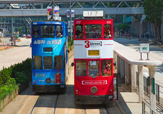 Hong Kong Tram. HONG KONG - APRIL 02: Unidentified people using tram in Hong Kong on April 02, 2017. Hong Kong tram is the only in the world run with double Stock Images