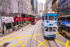 Hong kong Tram and bus Stock Images