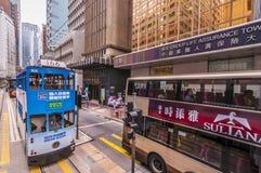 Hong kong Tram and bus Royalty Free Stock Image