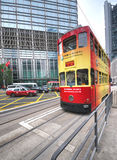 Hong Kong Tram at the CBD Stock Images