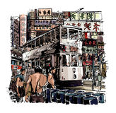 Hong Kong, tram on the street royalty free illustration