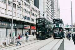 Hong Kong Tram system one of the earliest public transport system Stock Images