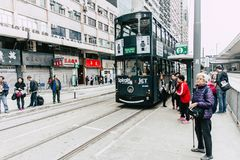Hong Kong Tram system one of the earliest public transport system Stock Photography