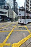 Hong Kong Tram. Trams going on the road in Central, Hong Kong Stock Photos