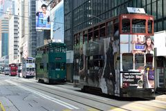 Hong Kong Tram. Trams in the row, going on the road in Central, Hong Kong Stock Photos