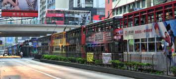 Hong Kong Tram. Trams in the row, waiting on the road in Causeway Bay, Hong Kong Royalty Free Stock Image
