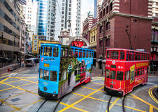 Hong Kong Trams. Trams on Des Voeux road  Sheung Wan District, Hong Kong Island Royalty Free Stock Photography