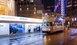 Hong Kong Trams. Trams on Des Voeux road  Sheung Wan District, Hong Kong Island Stock Photography