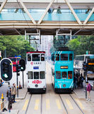 Hong Kong Trams. Trams on Des Voeux road  Sheung Wan District, Hong Kong Island Stock Photos