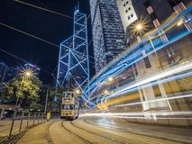 Hong Kong Trams Long Exposure Taken at Night with Light Trails stock photography