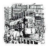 Hong Kong, tramwaj na ulicie royalty ilustracja